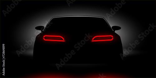 Fotografie, Obraz  car headlights shining in the dark