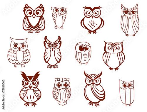 Canvas Prints Owls cartoon Set of vector owls
