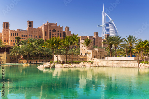 Foto auf Gartenposter Dubai Amazing architecture of tropical resort in Dubai, UAE