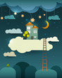Abstract paper cut,fantasy home sweet home ,moon with stars