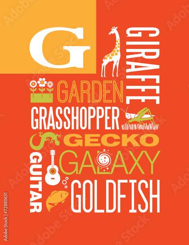 Letter G Words Typography Illustration Alphabet Poster Design