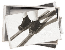 Black And White Photos, Old Photos Vintage Skis And Boots