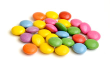 Colored Smarties On White Background