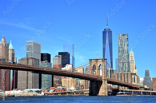 View of New York City Downtown Skyline with Brooklyn Bridge