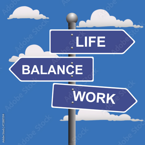 Work, life, balance, street, signs Poster