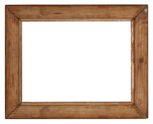 Old Wooden Frame On White Back...