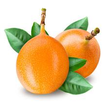 Passion Fruit. Grenadilla Isolated On White Background