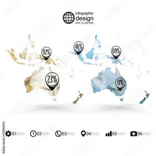 Australia Map Template.Australia Map Template Triangle Design Infographics Vector Buy