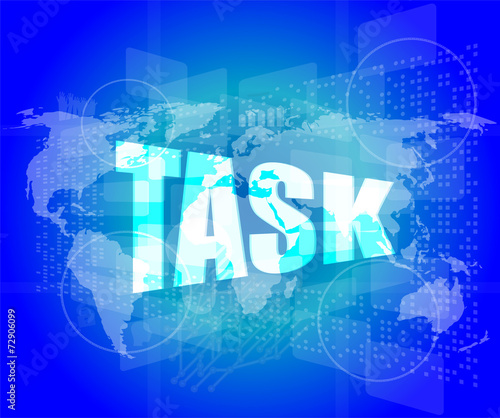 Task word on digital screen background with world map buy this task word on digital screen background with world map gumiabroncs Choice Image