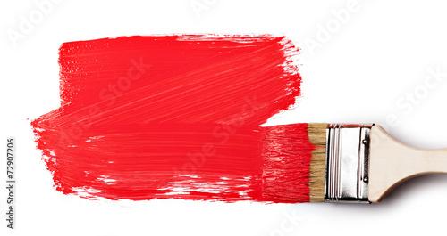 Fototapeta Paintbrush with red paint
