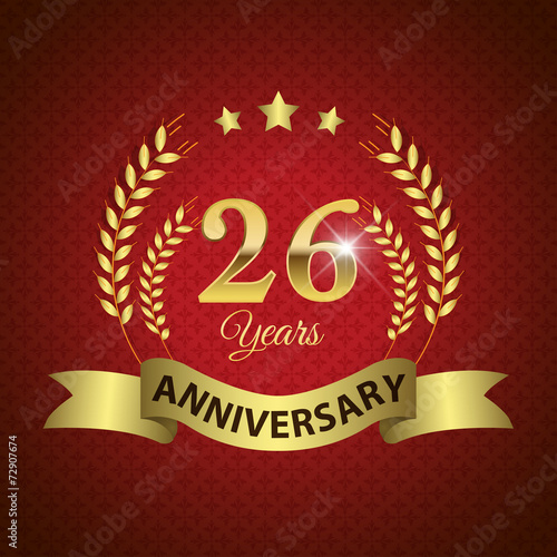Платно  Celebrating 26 Years Anniversary, Golden Laurel Wreath & Ribbon