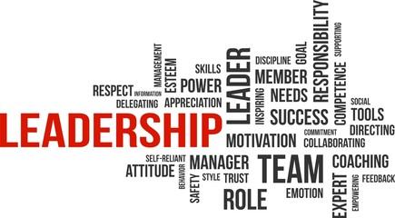 Panel Szklany Motywacje word cloud - leadership
