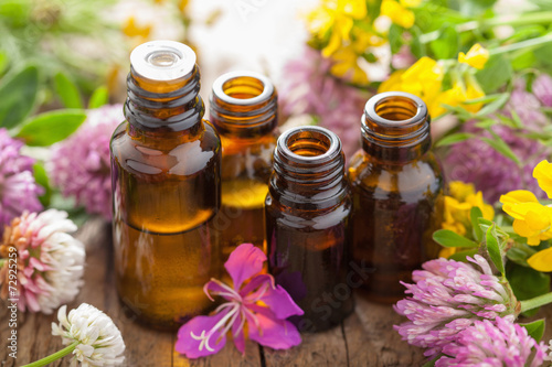 Fotografie, Obraz  essential oils and medical flowers herbs