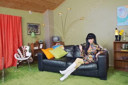 Photo  Cute Woman on Sofa