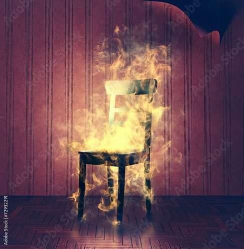 Fotografiet  burning chair