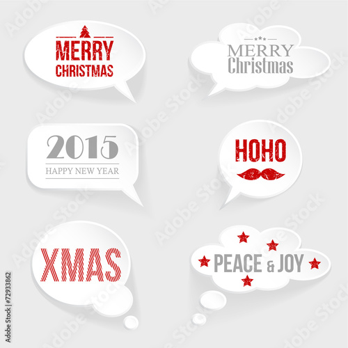 speech thought bubble set with christmasnew year messages