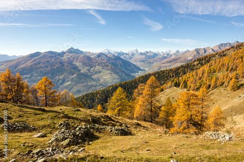 Valokuvatapetti Panorama autunnale in montagna