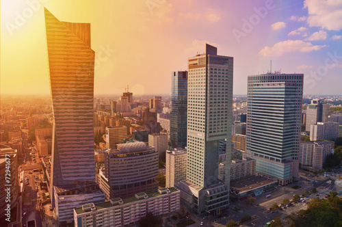 Fototapety, obrazy: Warsaw downtown - aerial photo of modern skyscrapers at sunset