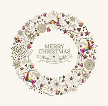Vintage Christmas Wreath Greeting Card