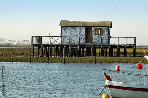 Deurstickers Nasa cabaña de pesca en marismas de Chiclana.Cádiz.España