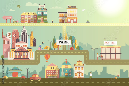 Poster Turquoise Set of buildings in the small business flat design