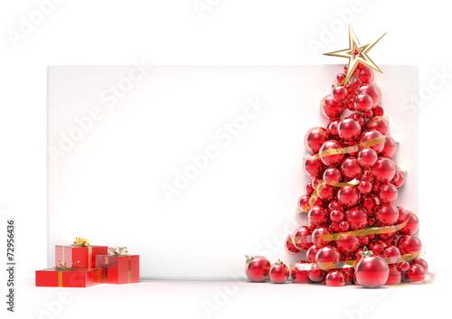 Láminas  Christmas tree done of balls and white placard