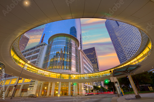 Canvas Print Houston Downtown sunset skyscrapers Texas