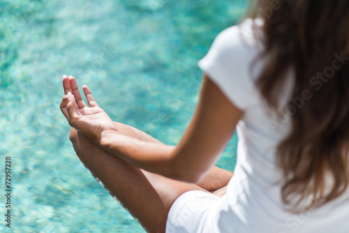 Recess Fitting Zen Woman meditating above a calm sea