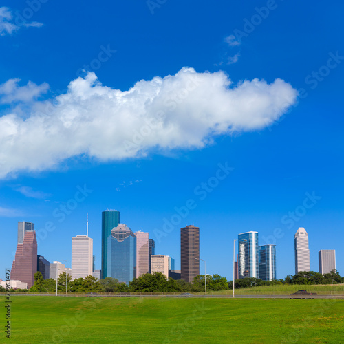 Poster Chicago Houston skyline blue sky Memorial park Texas US