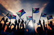 canvas print picture - People Waving South African Flags in Back Lit