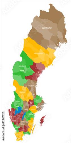 Karte von Schweden Canvas Print