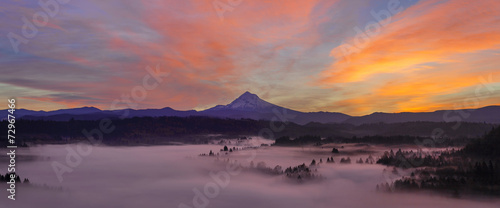 Valokuva  Pre Sunrise Over Mount Hood Early Autumn Morning Panorama