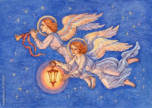 Fotografie, Obraz  Рождественские ангелы, акварель.