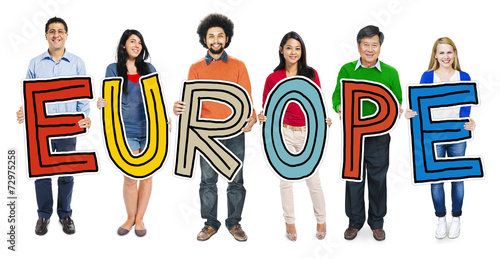 Multiethnic Group of People Holding Letter Europe