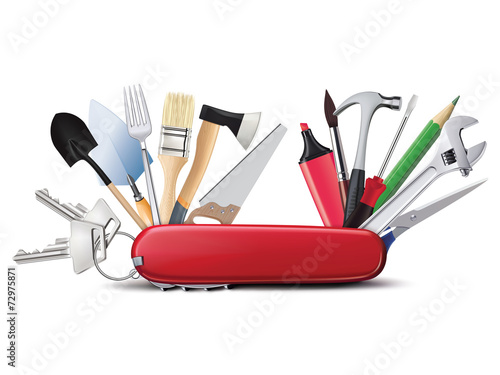 Valokuva  Swiss universal knife with tools. All in one. Creative illustrat