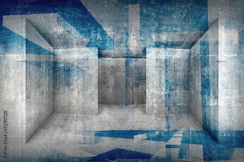 Abstract architectural background with grunge concrete interior