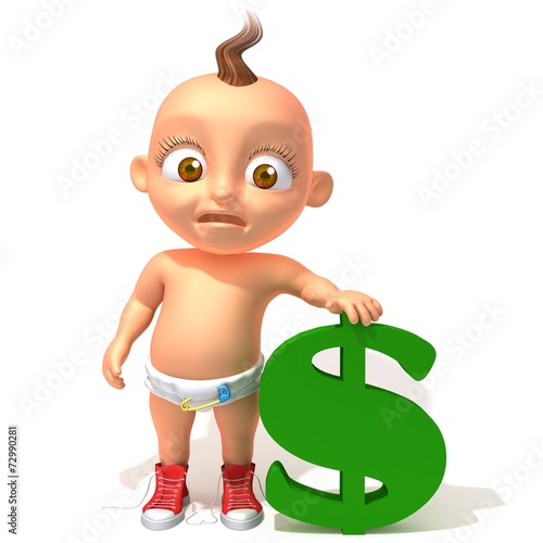 Baby Jake with dolar Canvas Print