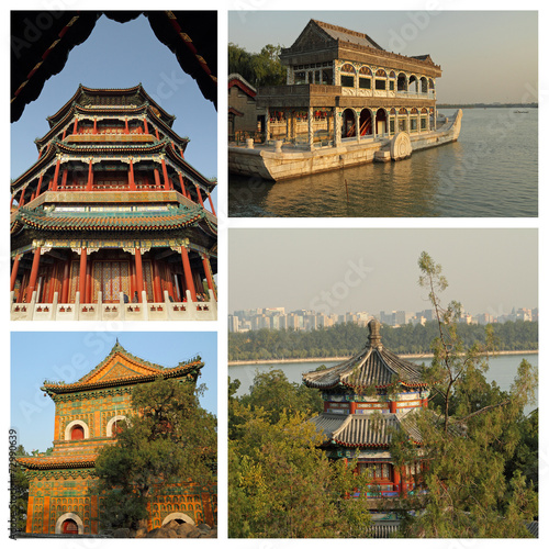 Foto op Aluminium Beijing group of images from Summer Palace in Beijing, UNESCO