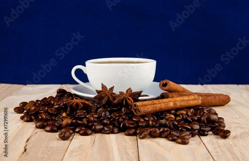 Poster Café en grains Cup of coffee and condiments