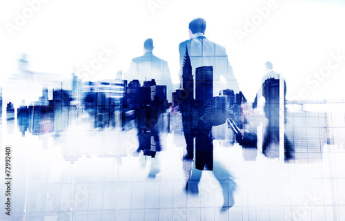Business People Walking on a City Scape - 72992401
