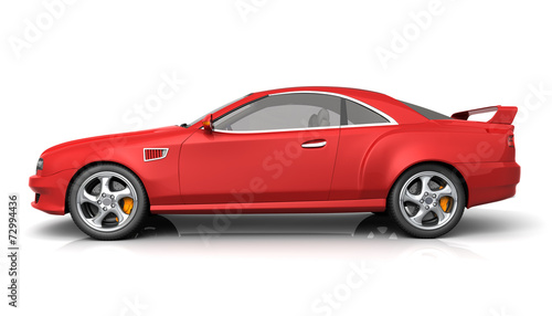 Fototapety, obrazy: Red muscle car with no brand name
