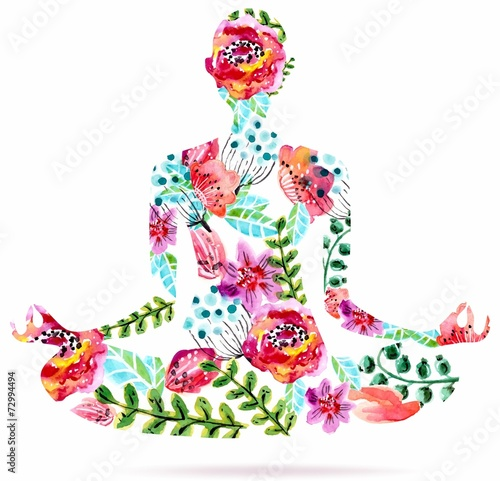 Photo  Yoga pose, watercolor bright floral illustration