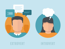 Vector Extraversion-introversion Infographics In Flat Style