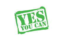 YES YOU CAN Green Rubber Stamp Vector Over A White Background.