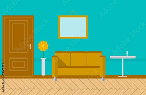 Fényképezés  Flat illustration for sitting-room