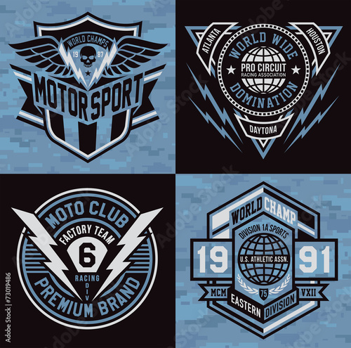Photo Sports emblem graphic crest set
