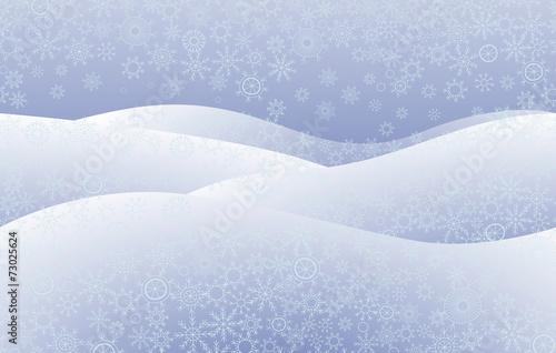 Fotografie, Obraz  Snowfield, snowflakes. Seamless texture.
