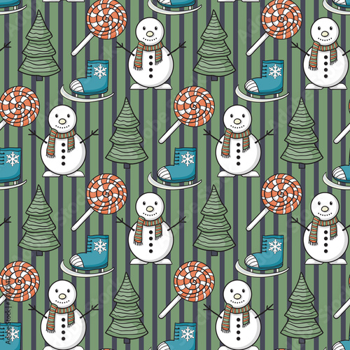 Cotton fabric Vector seamless Christmas pattern
