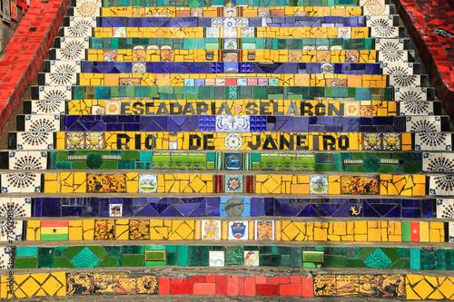 In de dag Rio de Janeiro Tiled Steps at lapa in Rio de Janeiro Brazil