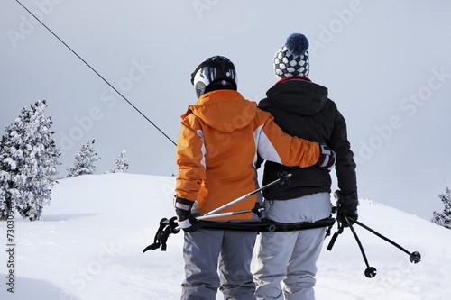Foto auf AluDibond Wintersport Schlepplift